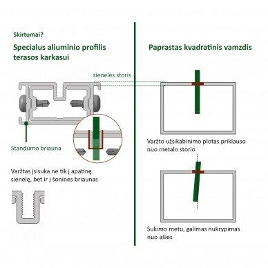 Aliumininė lagių sistema terasoms 38x45x3000 mm 5