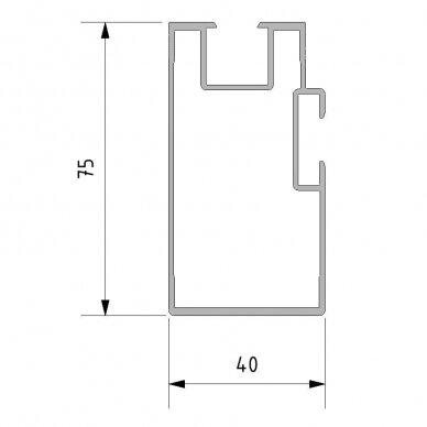 Aliuminio sija 75x40x4000 mm