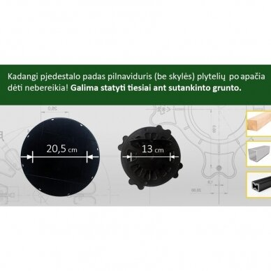 Reguliuojamas pjedestalas 120 mm - 170 mm 3