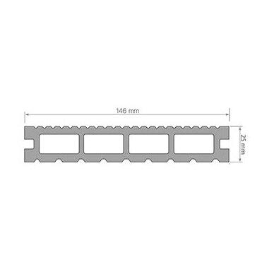 WPC terasinė lenta ART1   Juoda 1m. 2