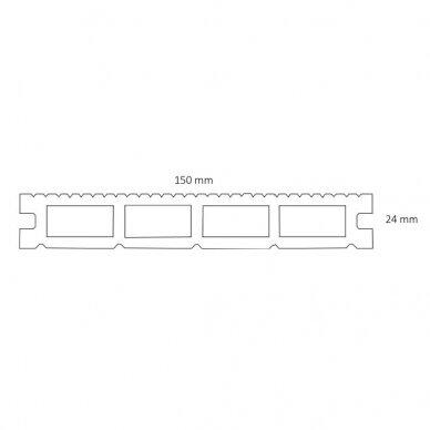 WPC terasinė lenta ART2   Pilka 1m. 2