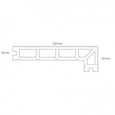 WPC terasinė lenta ART5 su kampu | Ruda 4m. 2